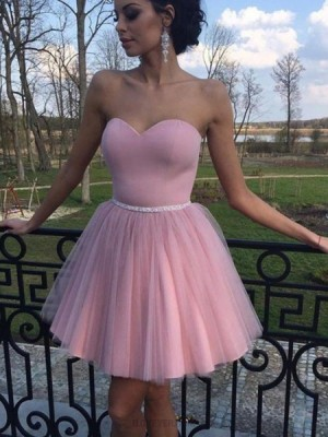 Simple Sweetheart Pleated Tulle Homecoming Dress With Beading Belt