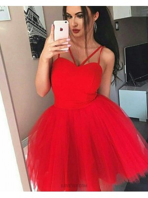 Simple Double Spaghetti Straps Red Homecoming Dress With Tulle Skirt