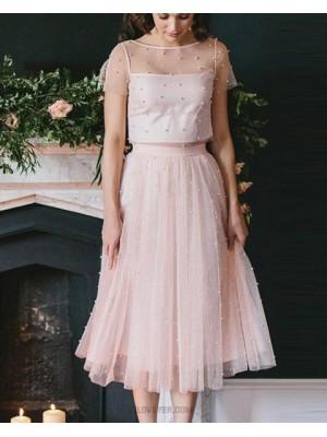 Jewel Pink Sheer Tulle Two Piece Knee Length Sleeved Graduation Dress