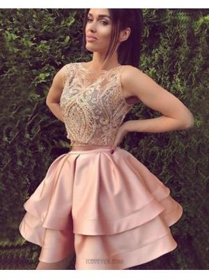 Jewel Two Piece Lace Bodice Blush Satin Homecoming Dress
