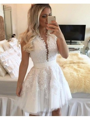 Amazing Round Neck Beading And Appliqued White Homecoming Dress