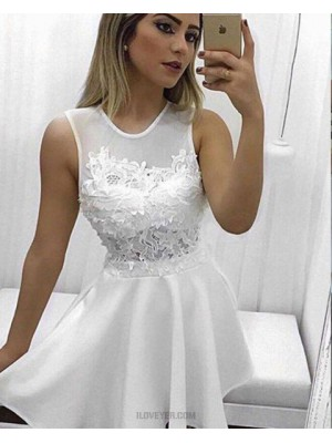 A Line High Neck White Chiffon Appliqued Homecoming Dress