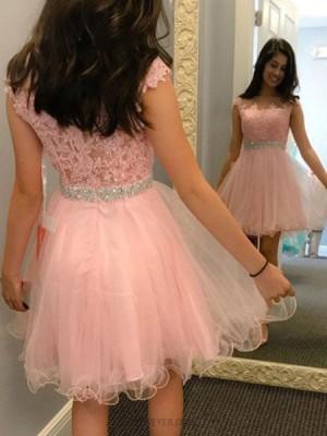Sheer Jewel Pink Beading Appliqued Homecoming Dress
