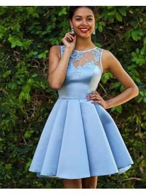 Jewel Lace Appliqued Satin Pleated Homecoming Dress