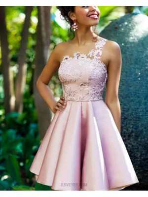 One Shoulder Lace Appliqued Bodice Satin Pink Homecoming Dress