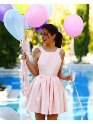 Jewel Lace Pleated Pink Homecoming Dress