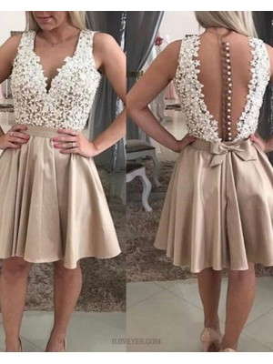 V Neck White And Chocolate Lace Bodice Satin Homecoming Dress