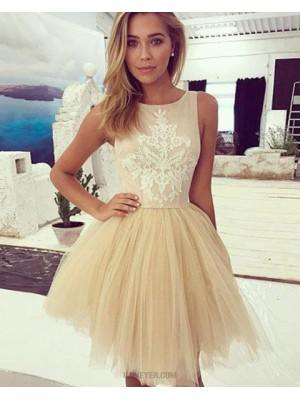 Pink And Champagne Appliqued Jewel Homecoming Dress With Tulle Skirt
