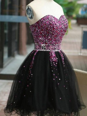 Sweetheart Beading Homecoming Dress With Black Tulle Skirt