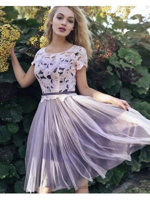 Scoop White And Black Lace Bodice Tulle Homecoming Dress