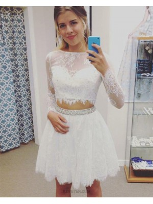 Jewel Two Piece Sheer Lace White Homecoming Dress With Long Sleeves