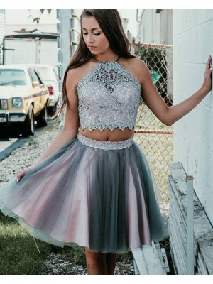 Halter Neck Pink And Grey Two Piece Lace Bodice Homecoming Dress
