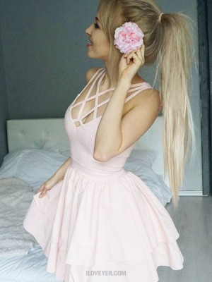 Simple Crisscross Pearl Pink Pleated Layered Homecoming Dress