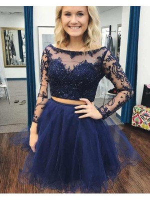 Two Piece Navy Blue Beading Embroidery Homecoming Dress With Long Sleeves