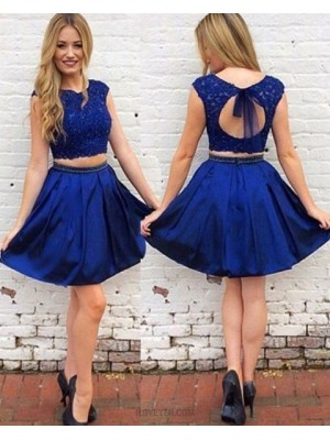 Two Piece Royal Blue Lace Bodice Satin Homecoming Dress