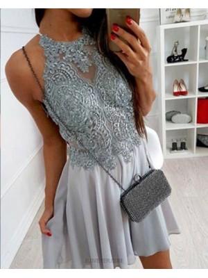 High Neck Lace Bodice Grey Chiffon Homecoming Dress
