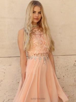 High Neck Lace Bodice Beading Chiffon Pink Homecoming Dress