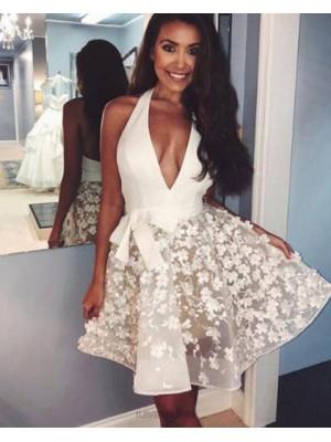 Halter White Elegant Homecoming Dress With Handmade Flowers