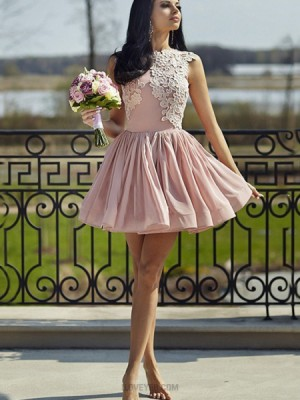 High Neck Pink Appliqued Pink Pleated Homecoming Dress