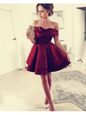 Simple Off The Shoulder Satin Red Layered Homecoming Dress