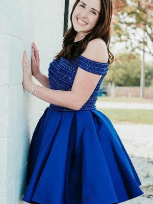 Off The Shoulder Blue Beading Two Piece Pleated Homecoming Dress