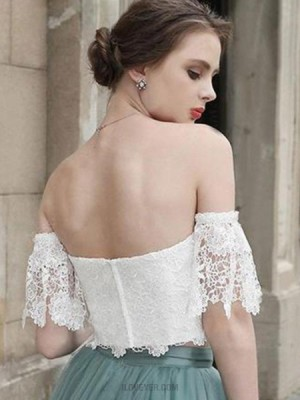 Off The Shoulder White Lace Bodice Homecoming Dress With Grey Skirt