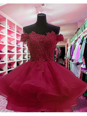 Off The Shoulder Appliqued Red Ruffled Homecoming Dress