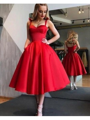 Simple Square Red Satin Tea Length Graduation Dress With Pockets