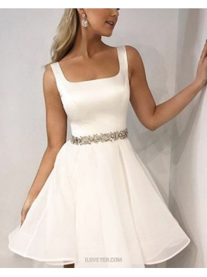 Simple Square Satin White Homecoming Dress With Beading Belt