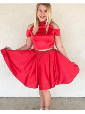 High Neck Cold Shoulder Two Piece Red Knee Length Beading Homecoming Dress