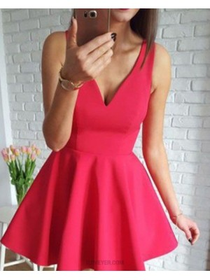 Simple V Neck Red Satin Homecoming Dress For School Dance
