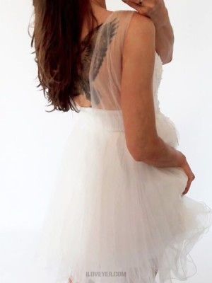 Sheer White Lace Appliqued Bodice Pleated Tulle Homecoming Dress