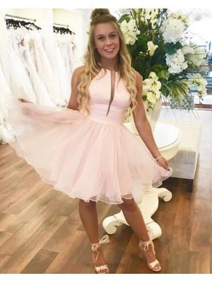 Jewel Neck Pearl Pink A Line Homecoming Dress With Polka Dot Skirt