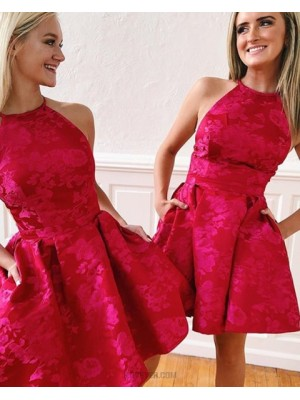 High Neck Red Lace Homecoming Dress With Pockets