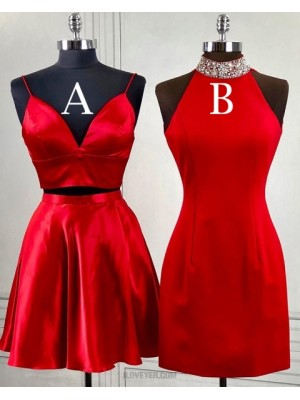High Neck Beading Red Bodycon Homecoming Dress