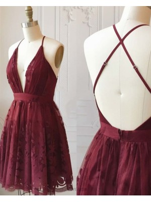 Deep V Neck Burgundy Lace Homecoming Dress