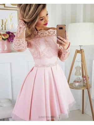 Pink Pleated Off The Shoulder Lace Appliqued Homecoming Dress With Long Sleeves