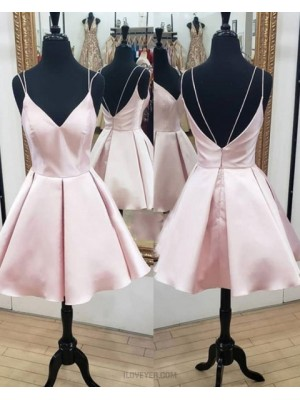 Pearl Pink Double Spaghetti Straps Simple A Line Homecoming Dress