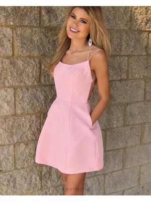Pink Double Spaghetti Straps Simple Satin Homecoming Dress With Pockets