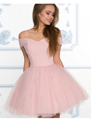 Cold Shoulder Dusty Pink Simple Homecoming Dress With Tulle Skirt