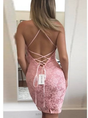 Halter Pink Lace Bodycon Homecoming Dress
