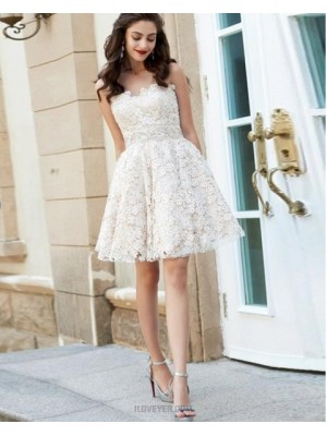 Sweetheart White Lace A Line Homecoming Dress