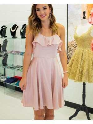 Spaghetti Straps Pearl Pink Layered Neck Chiffon Homecoming Dress