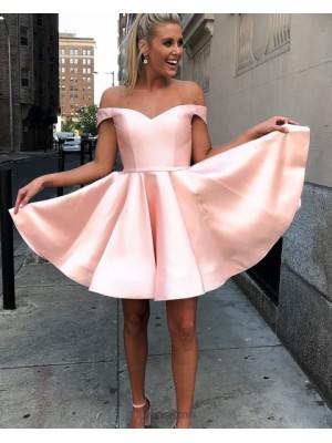 Off The Shoulder Simple Pink Satin Homecoming Dress