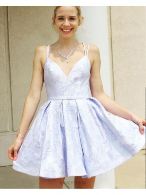 Double Spaghetti Straps Light Blue Lace Homecoming Dress