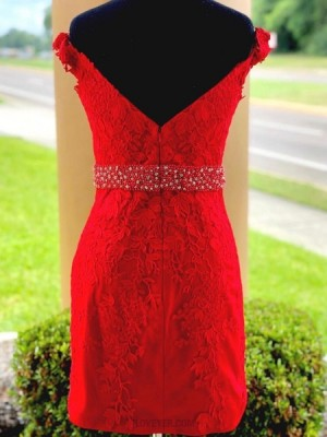 Off The Shoulder Lace Appliqued Red Bodycon Homecoming Dress With Beading Belt