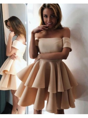 Off He Shoulder Champagne Satin Layered Skirt Homecoming Dress