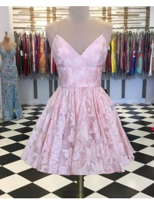 Double Spaghetti Straps Lace Pink Homecoming Dress