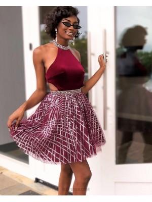 High Neck Burgundy Velvet Bodice Homecoming Dress With Sparkle Skirt