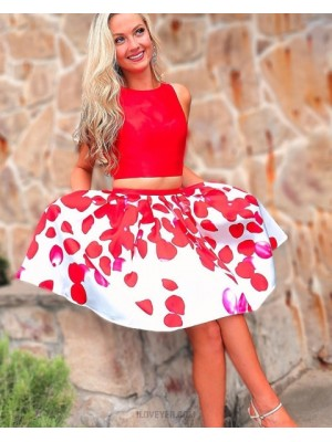 Jewel Neck Two Piece Red Homecoming Dress With Print Skirt